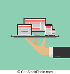 отзывчивый, web, дизайн, оказание услуг, concept., вектор