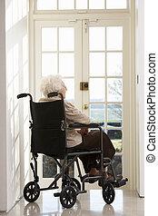 отключен, инвалидная коляска, женщина, старшая, сидящий