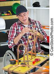 отключен, инвалидная коляска, человек