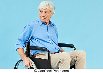 отключен, человек, инвалидная коляска, старшая
