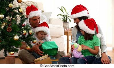 открытие, милый, рождество, семья, подарок
