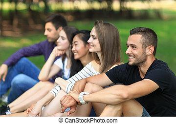 открытый, воздух, взрослый, весело, friends, having, ...