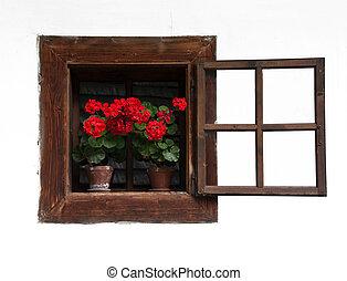 открытый, деревянный, традиционный, окно, цветы, красный