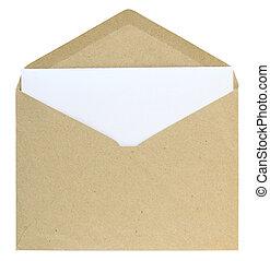открытый, конверт, isolated, на, белый, задний план, with,...