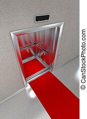 открытый, лифт, красный, ковер