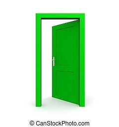 открытый, один, зеленый, дверь