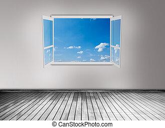 открытый, окно