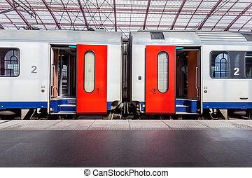 открытый, doors, из, поезд