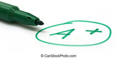 отметка, a+, with, ручка
