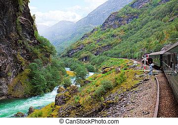 от, , поезд, в, норвегия
