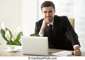 офис, бизнес, положительный, posing, стол письменный, лидер