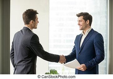 офис, встреча, когда, businessmen, руки, shaking