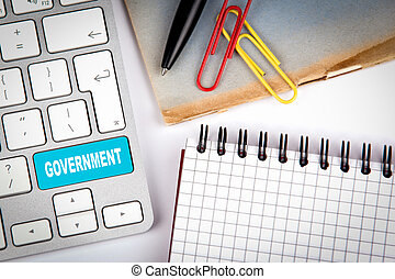 офис, правительство, предметы, concept., клавиатура, компьютер, различный, стол письменный, белый