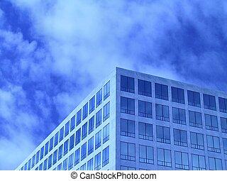 офис, синий, окна