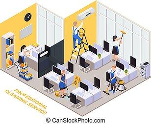 офис, состав, изометрический, уборка