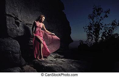 очарование, женщина, постоянный, следующий, к, камень