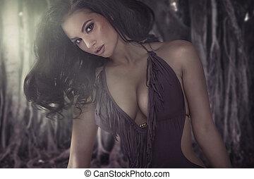 очаровательный, брюнетка, женщина, with, блестящий, тело