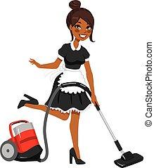 очиститель, американская, вакуум, африканец, горничная