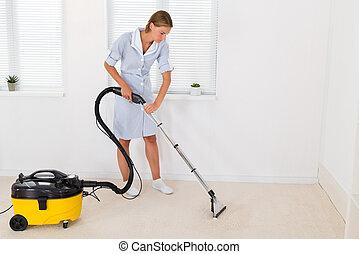 очиститель, вакуум, уборка, женский пол, горничная