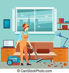 очиститель, женщина, комната, квартира, -, персонаж, вектор, уборка, вакуум