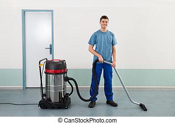 очиститель, мужской, работник, вакуум