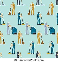 очиститель, промышленные, оказание услуг, seamless., шаблон, метла, вакуум, работник, background., cleaner., уборка, bucket., подметание, swabber, дворник, people., щетка