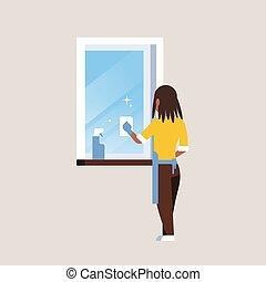 очиститель, тряпка, женщина, концепция, квартира, спрей, американская, домашние дела, домохозяйка, окно, полный, gloves, уборка, фартук, африканец, длина, задний, посмотреть