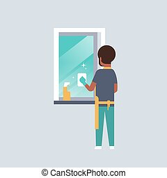 очиститель, тряпка, концепция, квартира, спрей, американская, посмотреть, персонаж, домашние дела, окно, полный, gloves, уборка, фартук, африканец, длина, парень, мужской, задний, человек