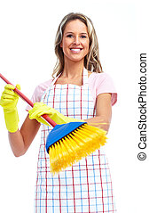 очиститель, улыбается, молодой, woman.