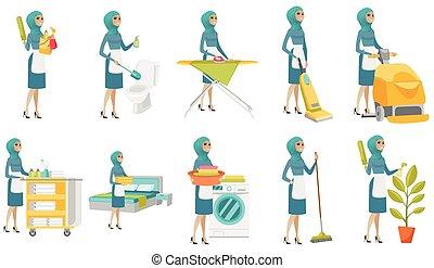 очиститель, set., мусульманка, молодой, вектор, illustrations