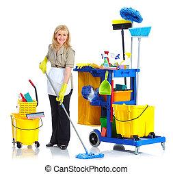 очиститель, woman., горничная