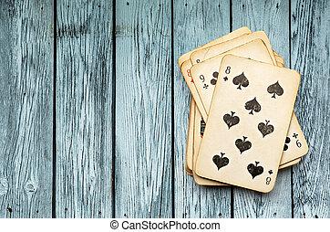 пакет, of, cards, на, деревянный, задний план