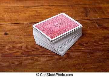 палуба, of, cards, на, деревянный, таблица