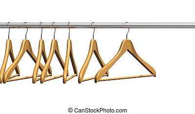 пальто, hangers, на, одежда, рельс
