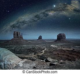 памятник, панорамный, путь, молочный, долина, посмотреть