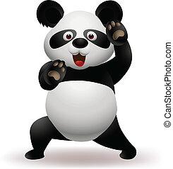 панда, веселая, иллюстрация, вектор