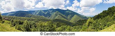 панорама, of, parc, naturel, региональный, des, пиренеи,...