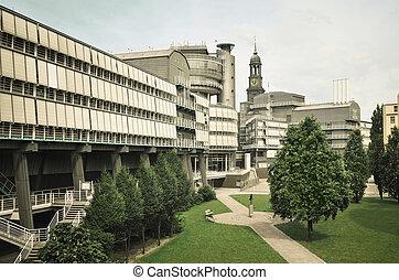 панорамный, посмотреть, к, современное, офис, здание