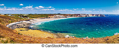 панорамный, посмотреть, of, пляж, anse, de, pen-hat, на, ,...