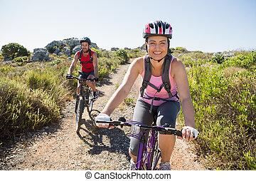 пара, велосипед, активный, поездка, сельская местность