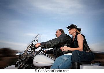 пара, верховая езда, , мотоцикл