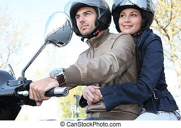пара, верховая езда, , самокат