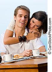 пара, в, завтрак