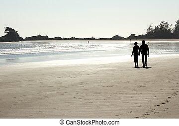 пара, гулять пешком, на, , пляж, 2