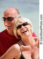 пара, день отдыха, пожилой, вместе