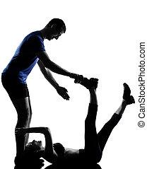 пара, женщина, разрабатывать, человек, exercising