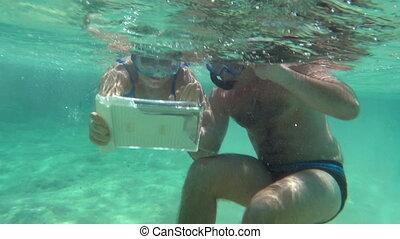 пара, изготовление, подводный, молодой, selfie