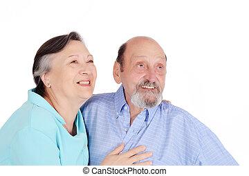 пара, ищу, камера, портрет, старшая, счастливый