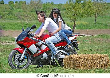 пара, на, , мотоцикл