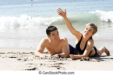 пара, на, , пляж